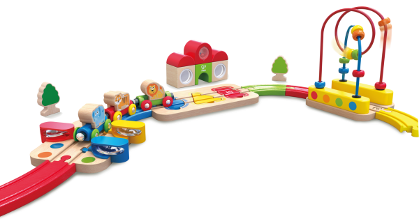 MUtable Rainbow Puzzle Railway by Hape Toys is a colorful playset that will delight your toddler with wooden animals figures and music tools!