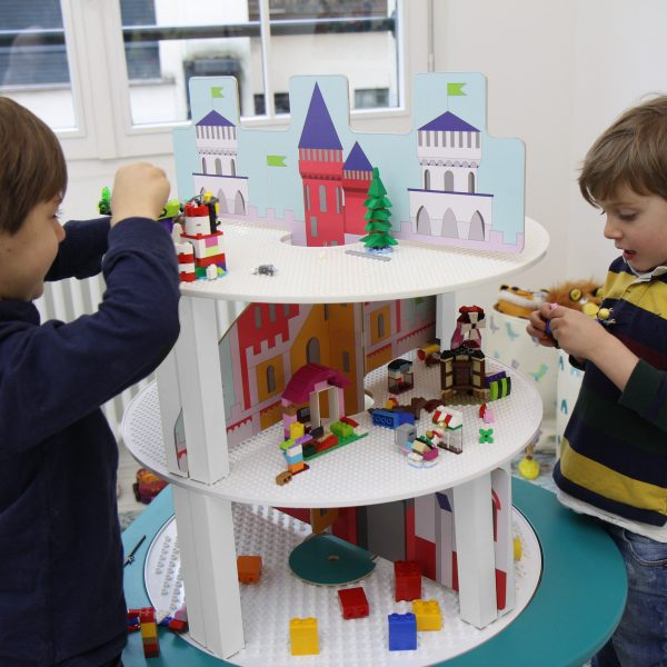 Kids play with MUtable Lego Tower 3 Levels